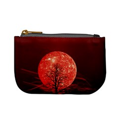 The Background Red Moon Wallpaper Mini Coin Purses