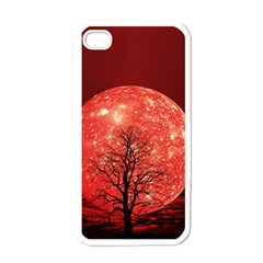 The Background Red Moon Wallpaper Apple Iphone 4 Case (white)