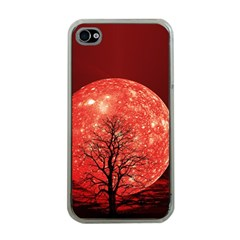 The Background Red Moon Wallpaper Apple Iphone 4 Case (clear)