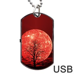 The Background Red Moon Wallpaper Dog Tag Usb Flash (one Side)