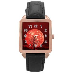 The Background Red Moon Wallpaper Rose Gold Leather Watch