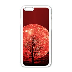 The Background Red Moon Wallpaper Apple Iphone 6/6s White Enamel Case