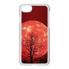 The Background Red Moon Wallpaper Apple Iphone 7 Seamless Case (white)
