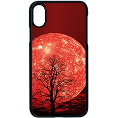 The Background Red Moon Wallpaper Apple Iphone X Seamless Case (black)