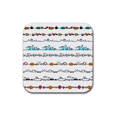 Decoration Element Style Pattern Rubber Square Coaster (4 Pack)