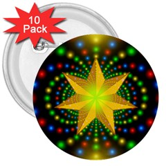 Christmas Star Fractal Symmetry 3  Buttons (10 Pack)