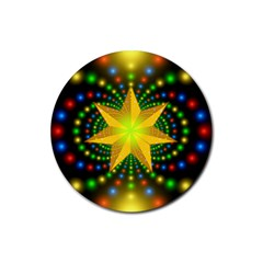 Christmas Star Fractal Symmetry Rubber Coaster (round)