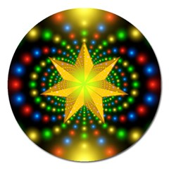 Christmas Star Fractal Symmetry Magnet 5  (round)