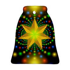 Christmas Star Fractal Symmetry Bell Ornament (two Sides)
