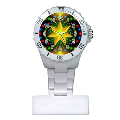 Christmas Star Fractal Symmetry Plastic Nurses Watch