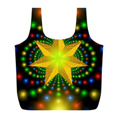 Christmas Star Fractal Symmetry Full Print Recycle Bags (l)