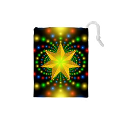 Christmas Star Fractal Symmetry Drawstring Pouches (small)