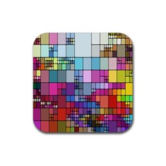 Color Abstract Visualization Rubber Square Coaster (4 Pack)