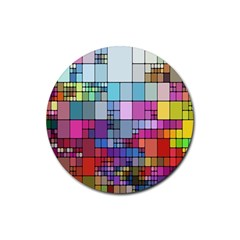 Color Abstract Visualization Rubber Round Coaster (4 Pack)