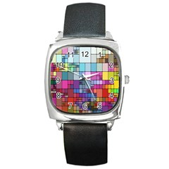 Color Abstract Visualization Square Metal Watch