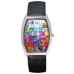 Color Abstract Visualization Barrel Style Metal Watch