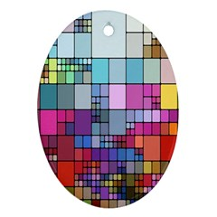 Color Abstract Visualization Oval Ornament (two Sides)