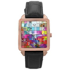 Color Abstract Visualization Rose Gold Leather Watch
