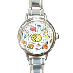 Colorful Doodle Soda Cartoon Set Round Italian Charm Watch
