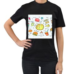 Colorful Doodle Soda Cartoon Set Women s T Shirt (black) (two Sided)