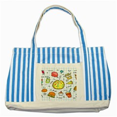Colorful Doodle Soda Cartoon Set Striped Blue Tote Bag