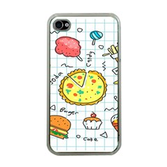 Colorful Doodle Soda Cartoon Set Apple Iphone 4 Case (clear)