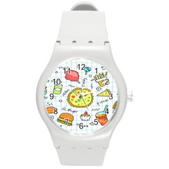 Colorful Doodle Soda Cartoon Set Round Plastic Sport Watch (m)