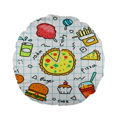 Colorful Doodle Soda Cartoon Set Standard 15  Premium Round Cushions