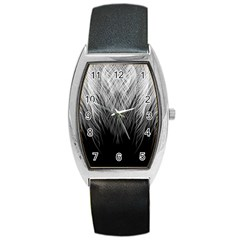 Feather Graphic Design Background Barrel Style Metal Watch