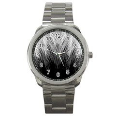 Feather Graphic Design Background Sport Metal Watch