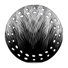 Feather Graphic Design Background Round Filigree Ornament (two Sides)