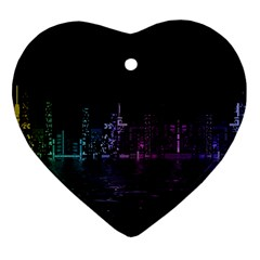 City Night Skyscrapers Ornament (heart)