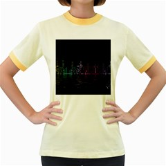 City Night Skyscrapers Women s Fitted Ringer T Shirts