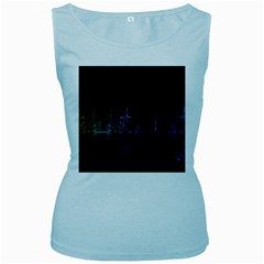 City Night Skyscrapers Women s Baby Blue Tank Top