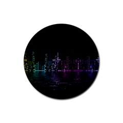 City Night Skyscrapers Rubber Round Coaster (4 Pack)