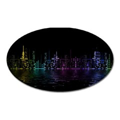 City Night Skyscrapers Oval Magnet