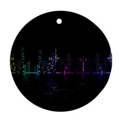 City Night Skyscrapers Round Ornament (two Sides)