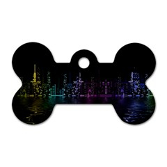 City Night Skyscrapers Dog Tag Bone (two Sides)