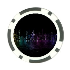 City Night Skyscrapers Poker Chip Card Guard
