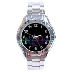 City Night Skyscrapers Stainless Steel Analogue Watch