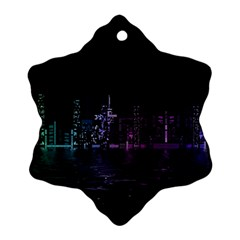 City Night Skyscrapers Snowflake Ornament (two Sides)