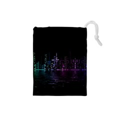 City Night Skyscrapers Drawstring Pouches (small)