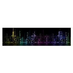 City Night Skyscrapers Satin Scarf (oblong)