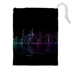 City Night Skyscrapers Drawstring Pouches (xxl)