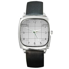 Abstract Architecture Contemporary Square Metal Watch