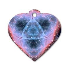 Sacred Geometry Mandelbrot Fractal Dog Tag Heart (two Sides)