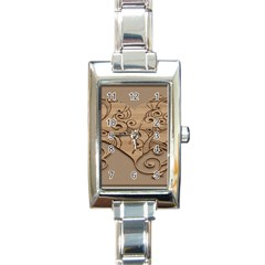 Wood Sculpt Carved Background Rectangle Italian Charm Watch