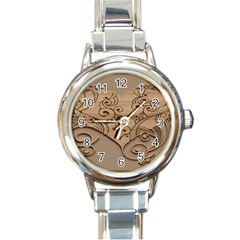 Wood Sculpt Carved Background Round Italian Charm Watch