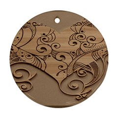Wood Sculpt Carved Background Ornament (round)