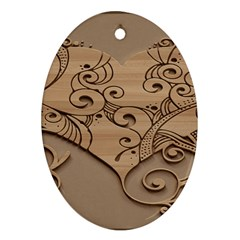 Wood Sculpt Carved Background Ornament (oval)